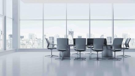 Meeting room with table and chairs. 3d render