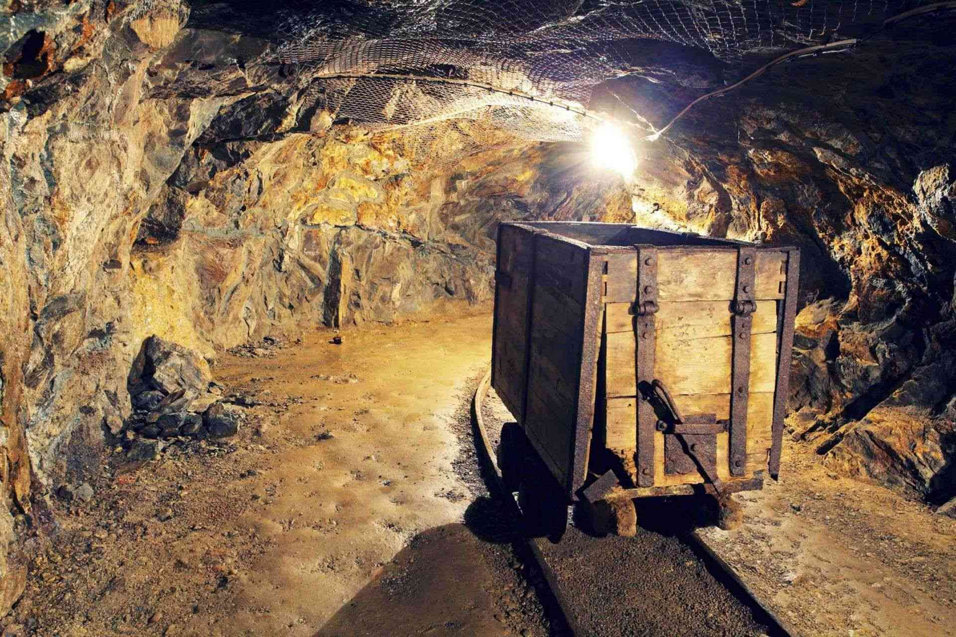 Mine gold underground tunnel railroad