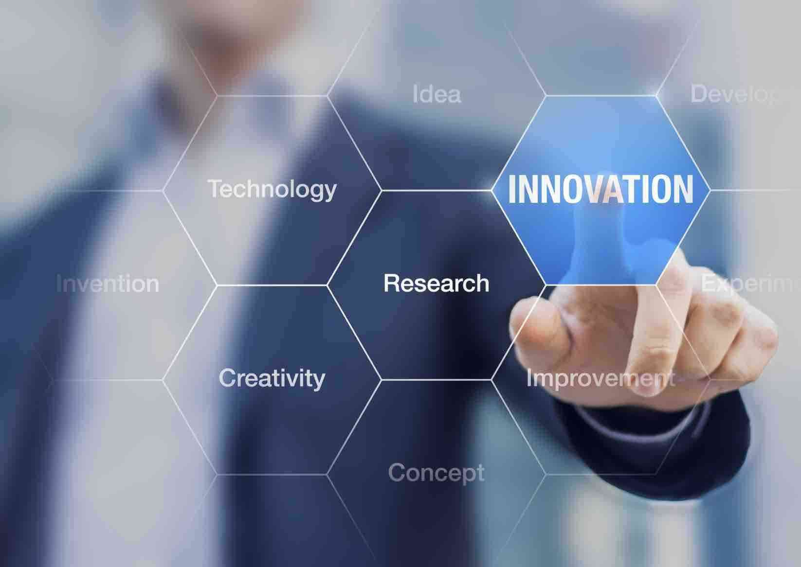 Innovation concept presented by a consultant in management on webinar screen